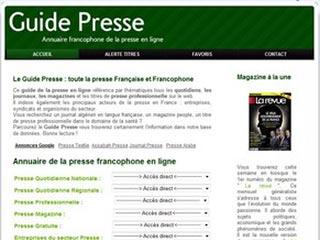 Le Guide Presse, presse française et francophone en ligne