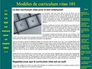 Modèles de curriculum vitae 101, tout sur les CV