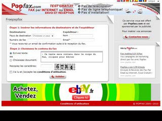 Freepopfax, service gratuit de Fax Internet